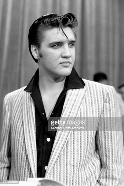 Rock and roll musician Elvis Presley rehearsing for his performance the Milton Berle Show on June 4 1956 in Burbank California Photo by Michael Ochs...