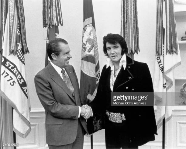 Rock and roll musician Elvis Presley visits President Richard Nixon on December 21 1970 at the White House in Washington DC