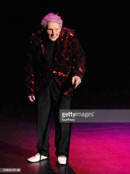 Rock and roll pioneer Jerry Lee Lewis looks out into the audience as he departs the stage after performing with his band on January 27 2019 at the...