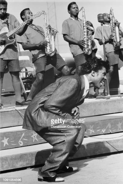 Rock and roll singer and songwriter Little Richard performs at Wrigley Field on September 2 1956 in Los Angeles California