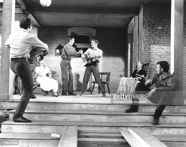 Rock and roll singer Elvis Presley during the filming of 'Love Me Tender' in Los Angeles CA
