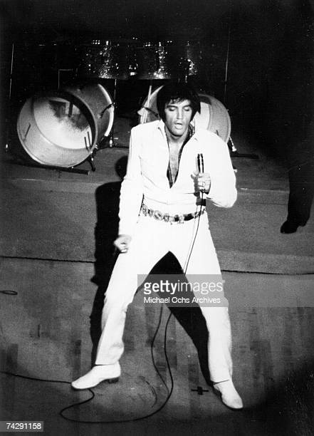 Rock and roll singer Elvis Presley performs on stage in 1970