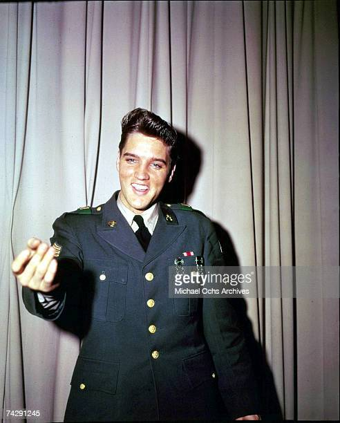 Rock and roll singer Elvis Presley poses for a portrait during his tour of duty in Germany in February of 1959.