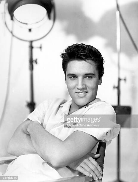 Rock and roll singer Elvis Presley poses for a portrait on the set of a movie in circa 1960 in Los Angeles California