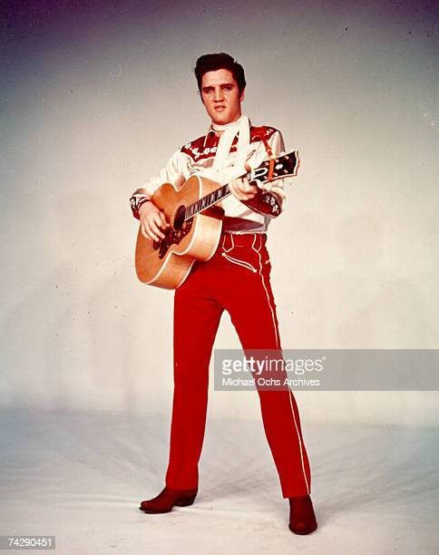 Rock and roll singer Elvis Presley poses for a portrait to publicize the release of his movie 'Loving You' in February of 1957 in Los Angeles CA
