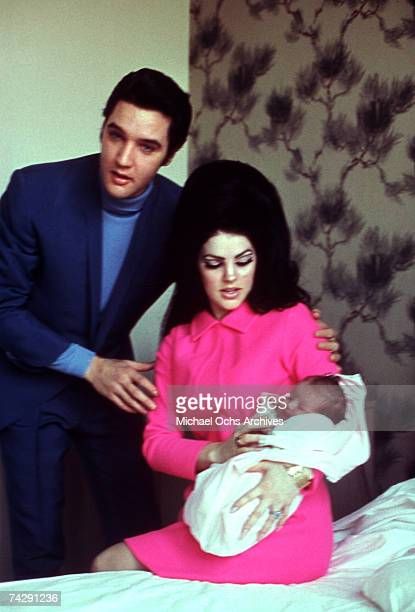 Rock and roll singer Elvis Presley with his wife Patricia Beaulieu Presley and their newborn daughter Lisa Marie Presley February 1, 1968 in Memphis,...