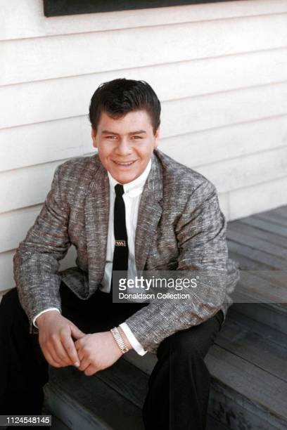 Rock and Roll singer Ritchie Valens poses for a photo during the filming of 'Go, Johnny, Go!' on January 20, 1959 in Los Angeles, California.