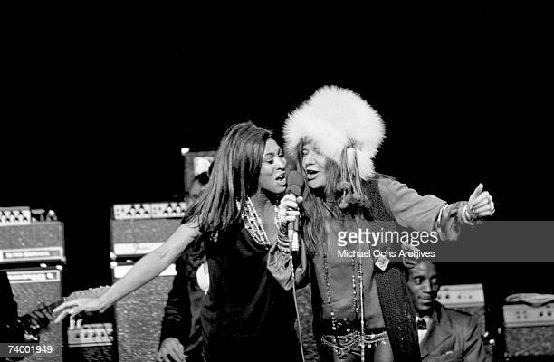 Rock and roll singers Janis Joplin and Tina Turner perform onstage on January 21 1969 in Los Angeles California