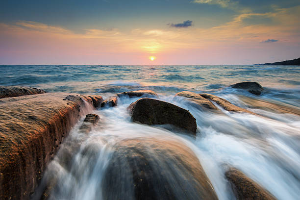 Rock and wave of Rayong beach