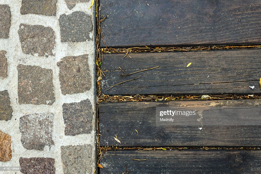 Rock and wood texture : Stock Photo