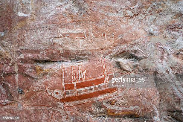 Rock art including representations of ships contact art Mount Borradaile Awunbarna Arnhem Land Northern Territory Australia