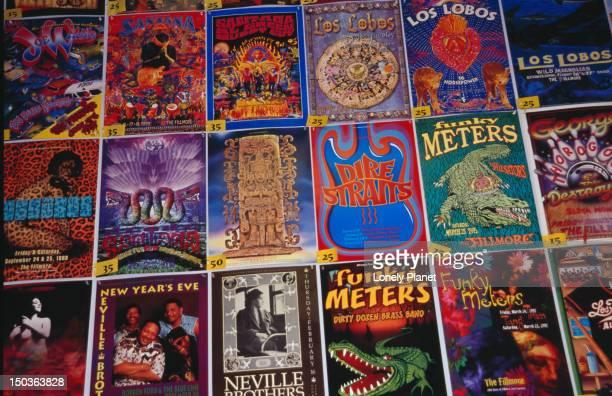 Rock art posters on display at Amoeba Music, Hollywood.