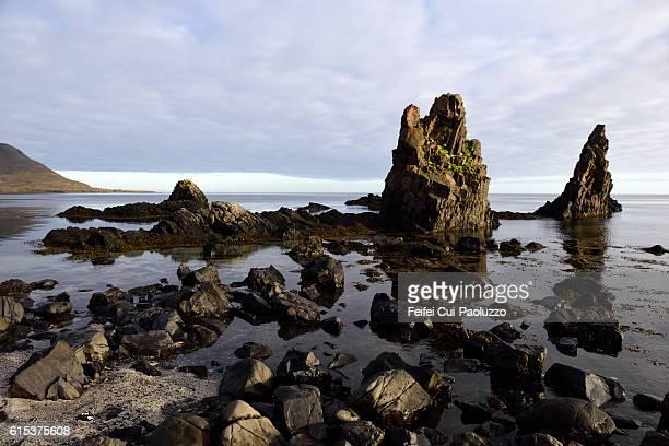 Rock at beach of Arnes in westfjords of Iceland