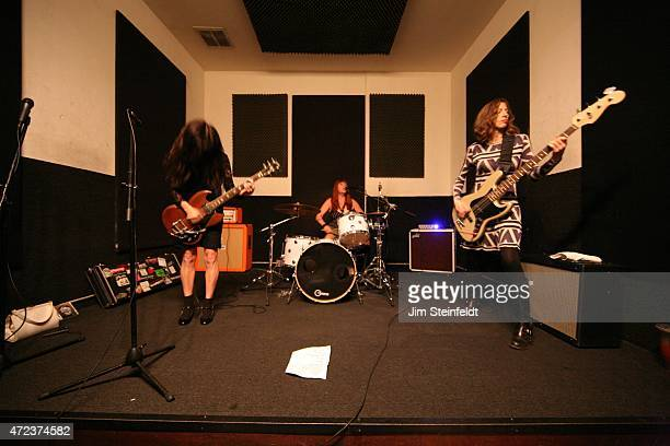 Rock band Babes in Toyland Kat Bjelland Lori Barbero and Maureen Herman rehearse for their tour at Amp Rehearsal in N Hollywood California on...