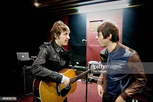 Rock band Beady Eye with lead singer Liam Gallagher are photographed for the Independent on April 16 2013 in London England