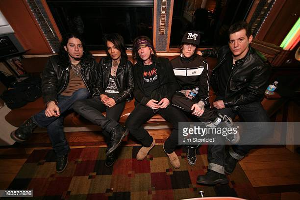Rock band Buckcherry backstage in the Gibson tour bus Xavier Murieldrums Stevie Dguitar Jimmy Ashhurstbass Josh ToddVocals Keith Nelsonguitar after...