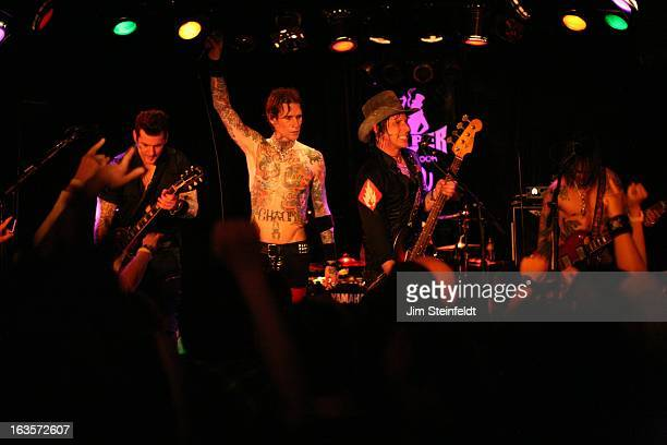 Rock band Buckcherry Keith Nelsonguitar Josh ToddVocals Xavier Jimmy Ashhurstbass Stevie Dguitar opening night of the Confessions tour at the Viper...