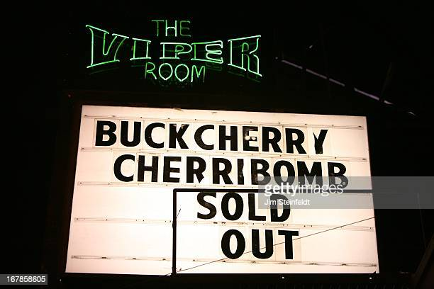 Rock band Cherri Bomb marquee at the Viper Room in Los Angeles California on March 7 2013