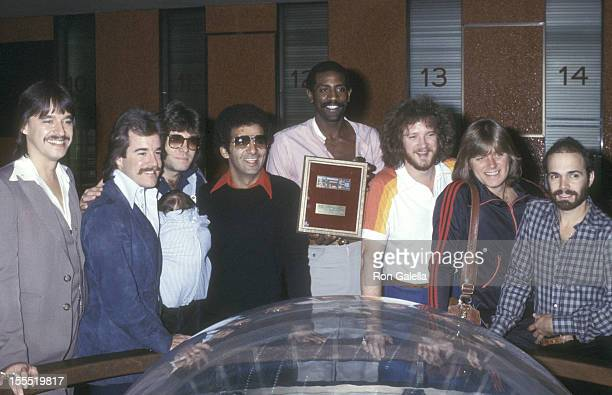 Rock band Chicago receives the Madison Square Garden Gold Ticket Award on October 28 1977 at Madison Square Garden in New York City