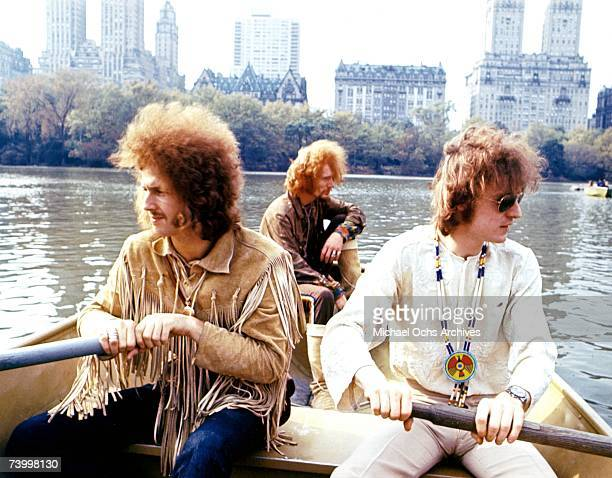 Rock band Cream pose for a portrait in a row boat in Central Park in November 1968 in New York City New York LR Eric Clapton Ginger Baker Jack Bruce