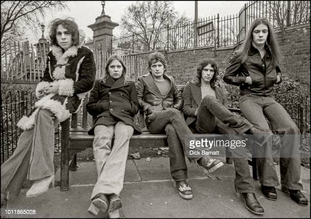 Rock band Elf group portrait London circa 1972 Left to right Ronnie Dio Gary Driscoll Mickey Lee Soule Steve Edwards Craig Gruber
