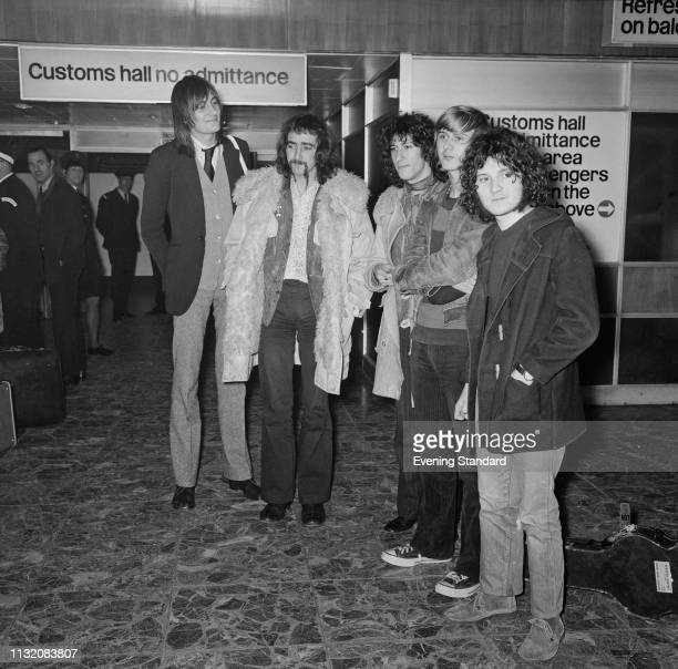 Rock band Fleetwood Mac at Heathrow Airport to fly to the US London UK 26th February 1969 they are Mick Fleetwood John McVie Peter Green Danny Kirwan...