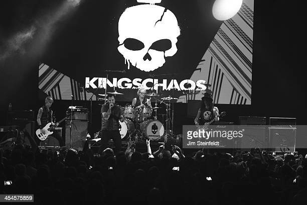 Rock band Kings of Chaos Duff McKagan Franky Perez Matt Sorum and Slash perform a benefit concert for Ric O'Barry's Dolphin Project at the Avalon in...