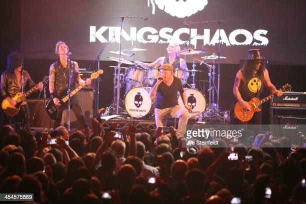 Rock band Kings of Chaos Steve Stevens Duff McKagan Corey Taylor Matt Sorum and Slash perform a benefit concert for Ric O'Barry's Dolphin Project at...