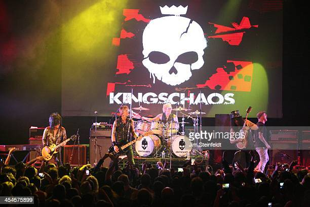 Rock band Kings of Chaos Steve Stevens Duff McKagan Matt Sorum Slash and Corey Taylor perform a benefit concert for Ric O'Barry's Dolphin Project at...