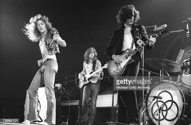 Rock band 'Led Zeppelin' performs onstage at the Forum on June 3 1973 in Los Angeles California Robert Plant John Paul Jones Jimmy Page John Bonham
