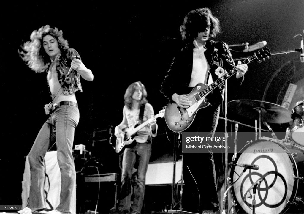 Led zeppelin rock band led zeppelin performs onstage at the forum on june 3 1973 voltagebd Images