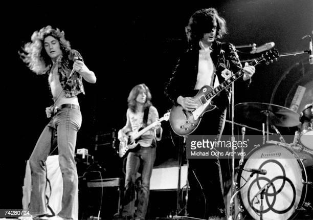 Rock band 'Led Zeppelin' performs onstage at the Forum on June 3 1973 in Los Angeles California Robert Plant John Paul Jones Jimmy Page John Bonham