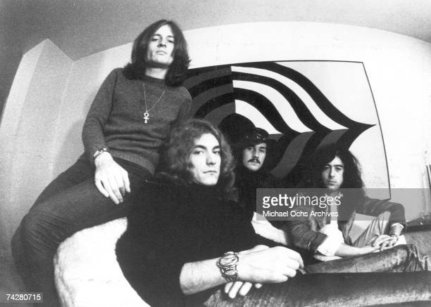 Rock band 'Led Zeppelin' poses for a publicity portrait in 1971 in England. John Paul Jones, Robert Plant, John Bonham, Jimmy Page.