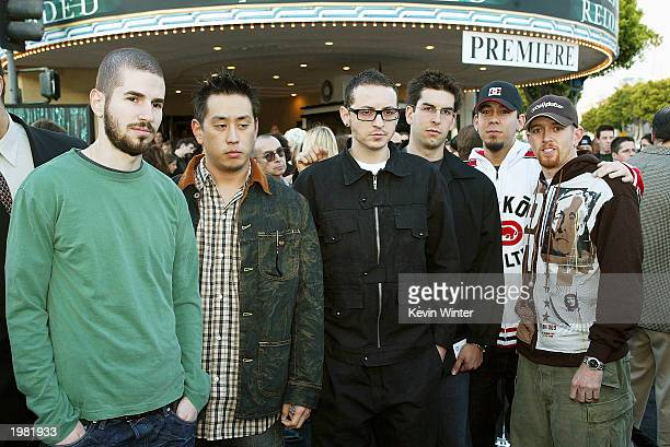 Rock Band Linkin Park arrives at the premiere of 'The Matrix Reloaded' at the Village Theater on May 7 2003 in Los Angeles California