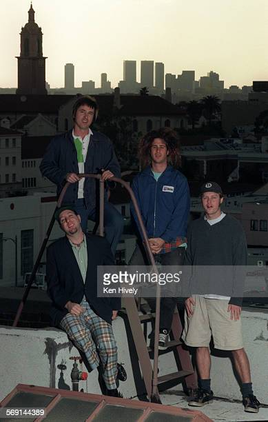 Rock band Lutefisk on the roof of the office of its record company Bong Load Custom Records in Hollywood From left are Beale Dabbs Brandon Jay and...
