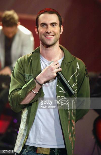 Rock band Maroon 5 with singer Adam Levine appear on 'The Tonight Show with Jay Leno' at the NBC Studios on March 10 2004 in Burbank California