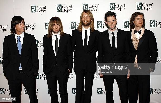 Rock Band Maroon 5 with singer Adam Levine arrive at City of Hope's Spirit of Life Award Gala at the Pacific Design Center on October 5 2006 in West...