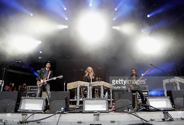 Rock band Metric perform onstage during The Meadows Music Arts Festival Day 2 on October 2 2016 in Queens New York
