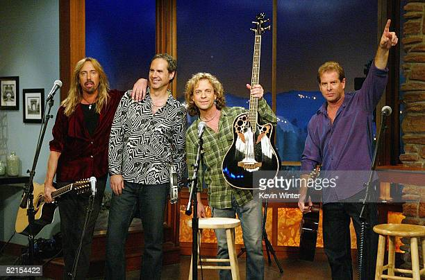 Rock band Night Ranger performs on The Late Late Show with Craig Ferguson at CBS Television City on February 7 2005 in Los Angeles California