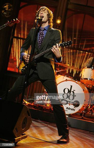 Rock band OK Go with singer Damian Kulash performs at The Late Late Show with Craig Ferguson at CBS Television City on October 31 2006 in Los Angeles...