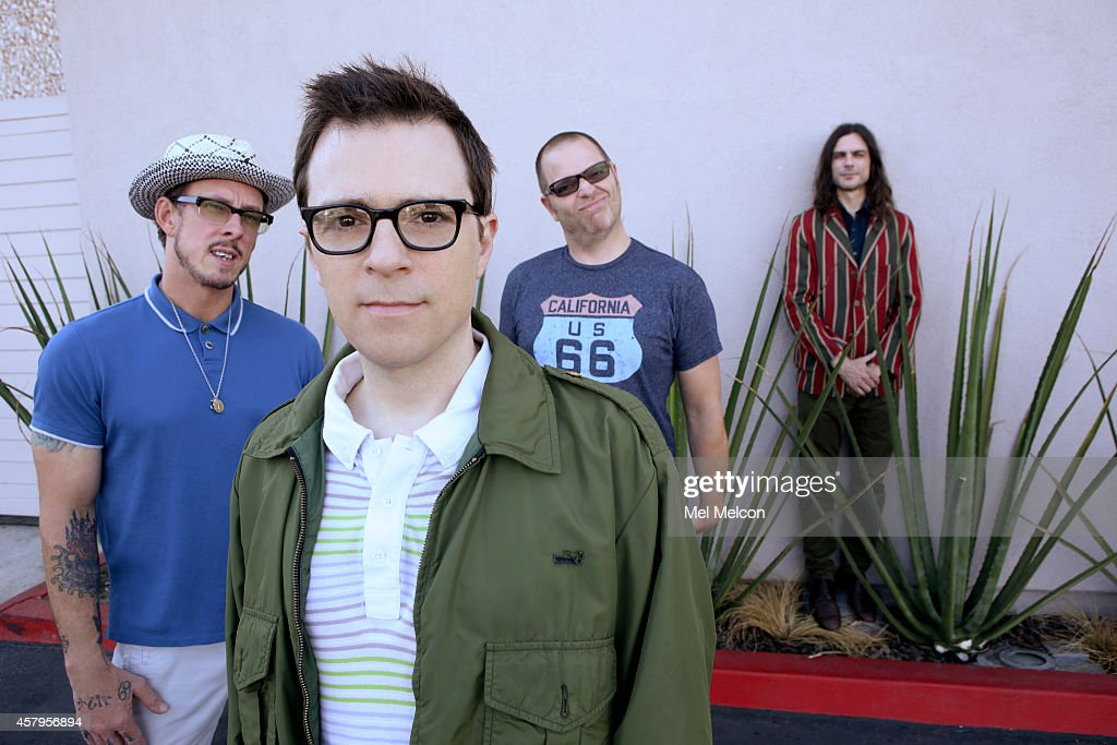 Rock band Patrick Wilson, Weezer, Rivers Cuomo, Brian Bell, Scott Shriner is photographed for Los Angeles Times on September 12, 2014 in Hawthorne, California. PUBLISHED IMAGE.