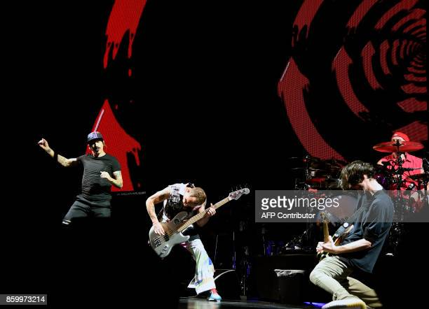 US rock band Red Hot Chili Peppers performs at the Palacio de los Deportes in Mexico City on October 10 2017 The Red Hot is in Mexico for their tour...
