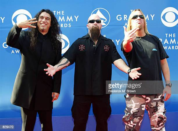 Rock band Slayer attend the 44th Annual Grammy Awards at Staples Center February 27 2002 in Los Angeles CA
