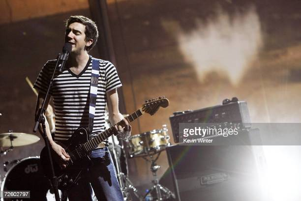 Rock band Snow Patrol singer Gary Lightbody rehearses on day 1 at the 2006 American Music Awards at the Shrine Auditorium on November 18 2006 in Los...