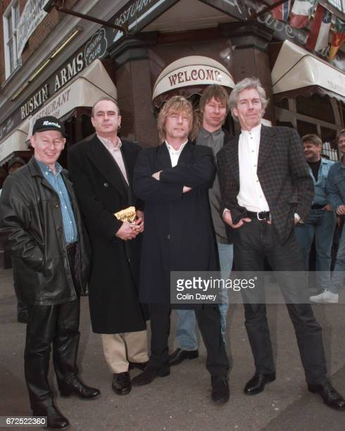 Rock band Status Quo outside the Ruskin Arms in east London 23rd March 1999 LR Jeff Rich Francis Rossi Rick Parfitt John Edwards Andy Bown