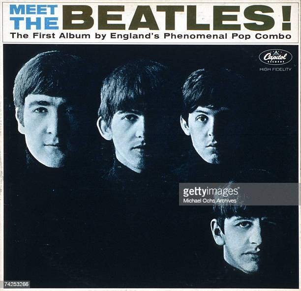 Rock band 'The Beatles' poses for a portrait for the album cover of 'Meet The Beatles' which was the first Beatles record released in the United...
