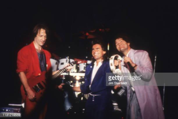 Rock band the Monkees Peter Tork Davy Jones and Micky Dolenz performs at the Carlton Dinner Theatre in Bloomington Minnesota in August 1986