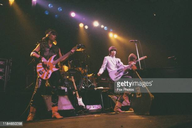 Rock band The Pretenders fronted by singer and guitarist Chrissie Hynde in concert at the Lyceum in London 14th December 1981