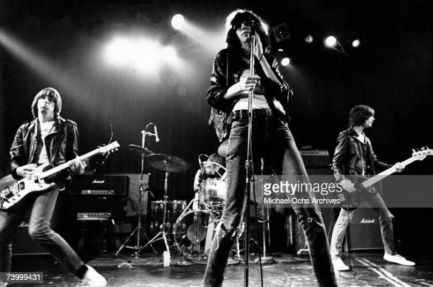 Rock band The Ramones performs onstage at the Santa Monica Civic Auditorium in August 1976 in Santa Monica California Johnny Ramone Tommy Ramone Joey...