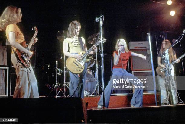 Rock band 'The Runaways' perform on stage in Los Angeles CA 1976 Jackie Fox Joan Jett Cherie Currie Lita Ford